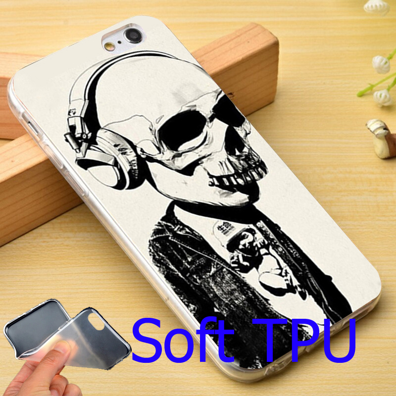 Earphone Skull TPU Phone Case for iPhone 5S 5 SE 5C 4 4S 6 6S 7 Plus Cover ( Soft TPU / Hard Plastic for Choice )(China (Mainland))