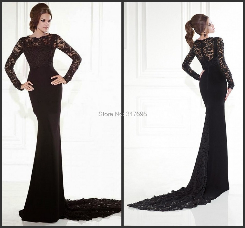 AF729Robe De Soiree 2015 Elegant Long Sleeve Evening Dresses Black Women Dress Mermaid Floor Length Lace Gown Abendkleid - chuan bo xie's store