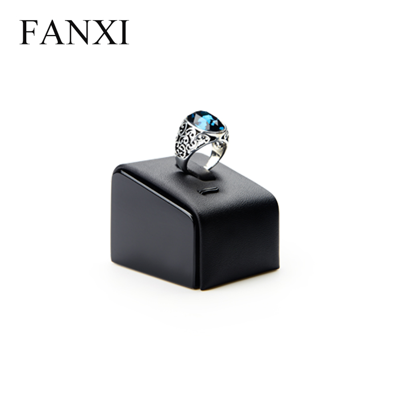 FANXI Free Shipping 6 pcs/lot Black PU Leather Ring Exhibitor Stand Tilt Prop Wood LacquerJewelry Display Holder Shop Showcase(China (Mainland))