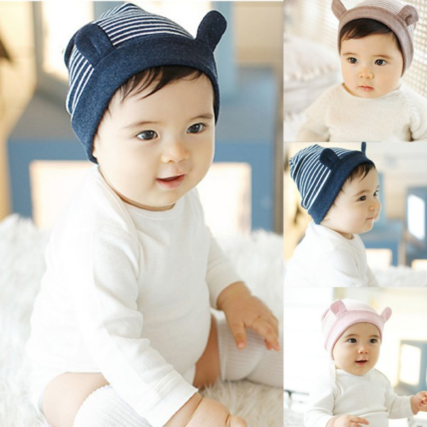 Newest Newborn Baby Infants Cute Little Ears Stripe Cotton Baby Beanie Warm Hat Caps(China (Mainland))