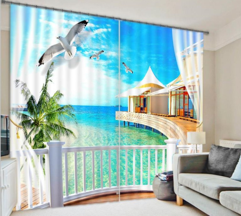 Window Curtain 3D Curtains for living room bedroom Blackout drapes Relaxing Palm Tree Sea rideaux pour le salon Tailored made(China (Mainland))