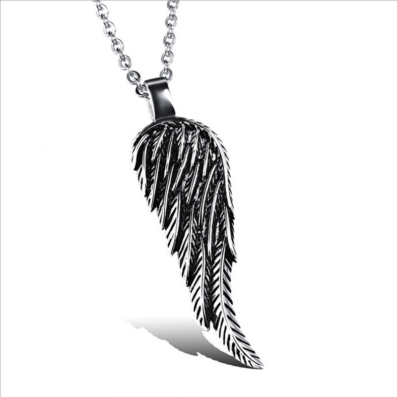 Brand New Rock Style Necklace Men Angel's Wing Pendant European American Hipster Jewelry GX977  -  Coolcastle store