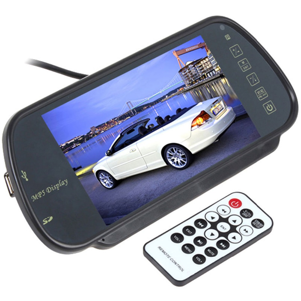 7 inch car rear view mirror monitor back up monitor with mp5 player free shipping