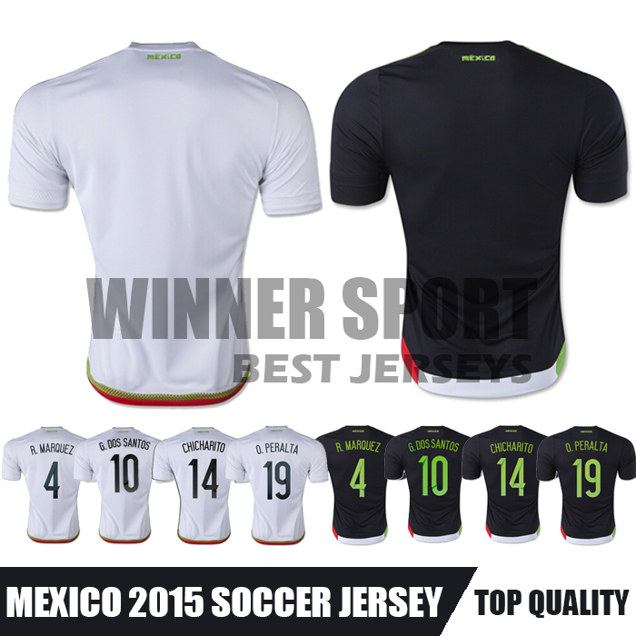 2015 Camisa Mexico Soccer Jerseys Chandal Mexico 15 16 CHICHARITO R.MARQUEZ O.PERALTA Top Thai Quality Home Away Football shirt(China (Mainland))