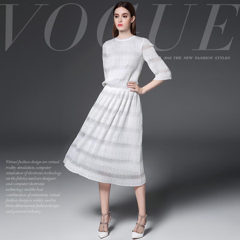 White dress new 2016 summer dress half sleeve collect waist long women brand dress high end vestidos