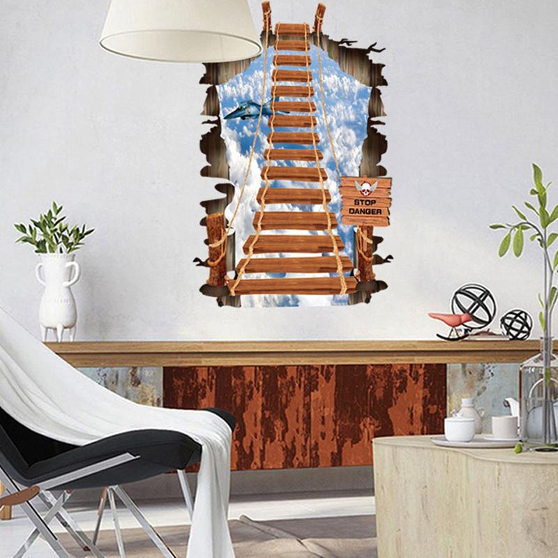 1pcs Dream Ladder Vinyl Sticker 3D Wall Decals TV Sofa Background Living Room Bedroom Home Accessories Poster adesivo de parede(China (Mainland))