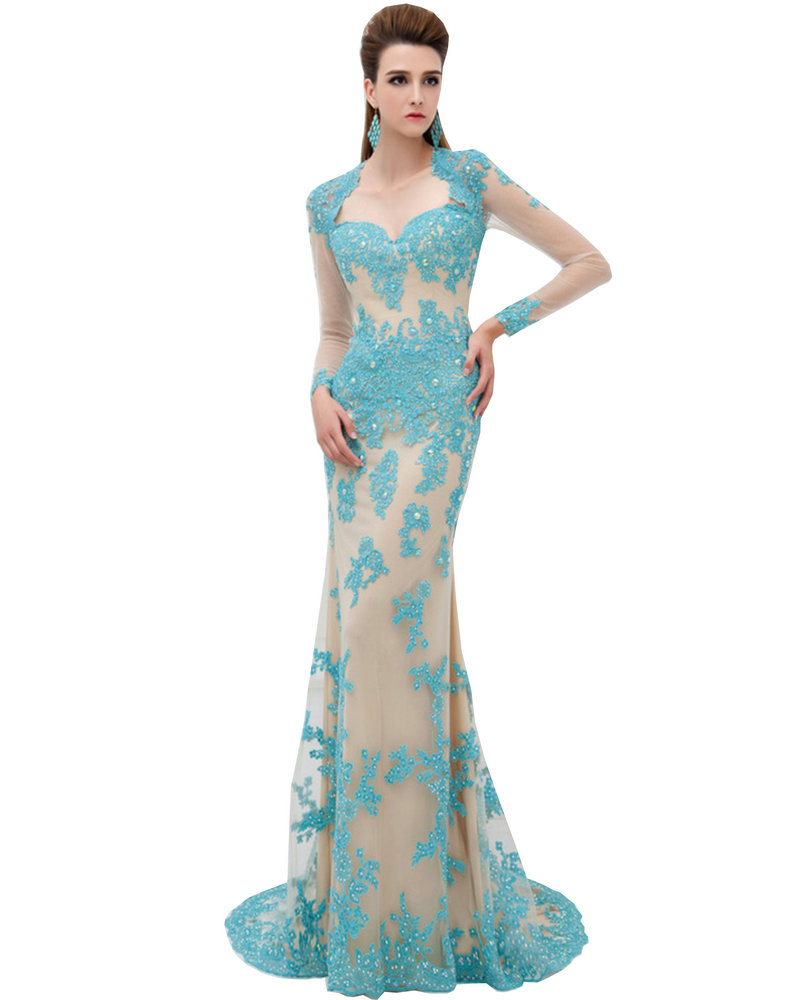 Turquoise lace long sleeves evening dress pageant gowns lace a line
