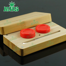 14ml Bamboo Container Set With Dabbing Tool Food Grade Silicone Wax Container for Weed Concentrates(China (Mainland))