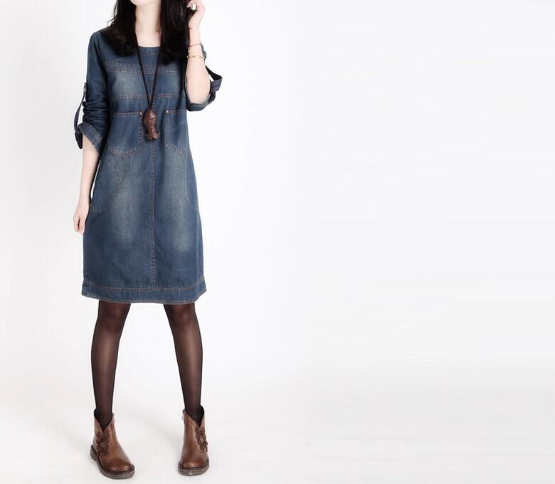 2014 סתיו חדש אירופאי ואמריקאי גדול גודל נשים מיל לבנה ארוך שרוולים שמלת ג 'ינס וינטאג', שמלת ג ' ינס
