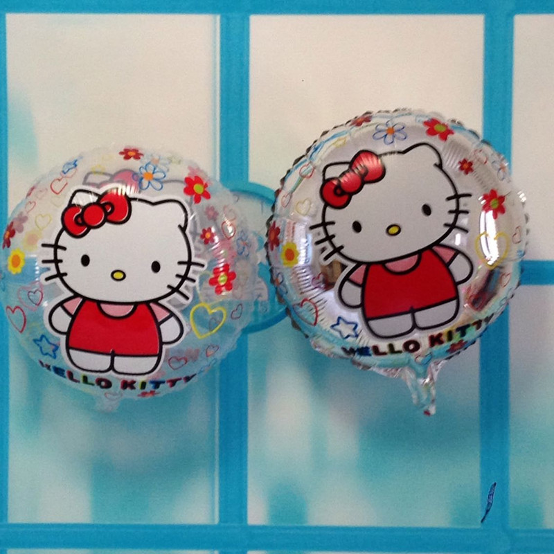 100pcs/lot 18 inch hello kitty helium balloons globos xmas party decoration kitty cat balloon , transparent and silver KT ballon