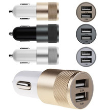 New 2.1A+1A Aluminum material Dual 2 Port Universal USB Car Charger For iPhone 5 / 6 /For Samsung Galaxy S4 S5 Note