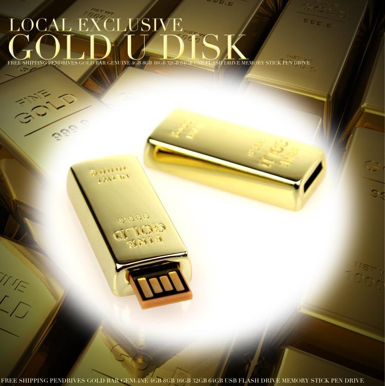 Freeshipping new usb flash drive gold pen drive 32gb 64gb memory stick usb stisk Pendrive mini gift memory storage real capacity(China (Mainland))