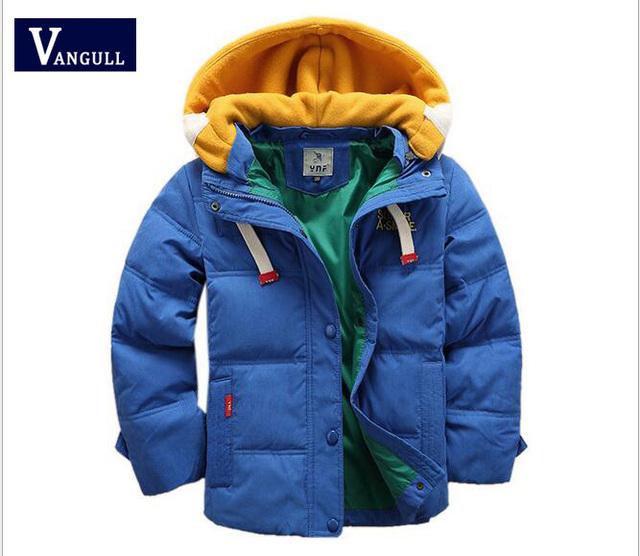 2016 Новых Осенью и Зимой С Капюшоном Вниз Куртка Корейский детская Одежда Мальчиков Случайные Куртка Пальто Прилива 4 Цветов