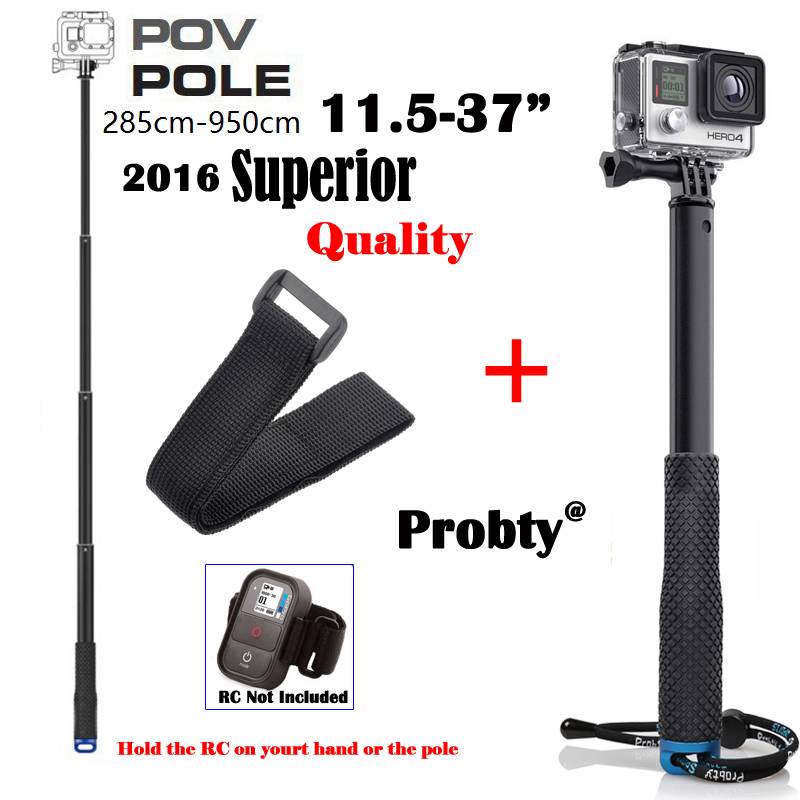 Camera Aluminum Extendable Stick POV Pole GoPro Monopod tripod+RC strap For Go pro HERO 4,3+ SJ4000 SJCAM XiaoMi Yi AEE Rollei(China (Mainland))