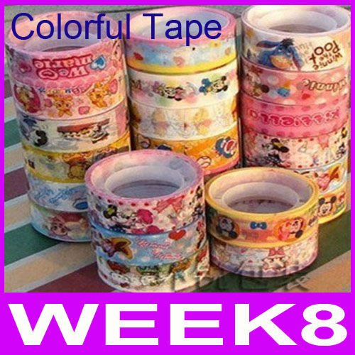 Free Shipping Cartoon Color Tape Color Printed Adhesive Sticker Stationery Products Office Adhesive Tape By EMS(China (Mainland))