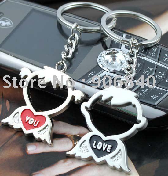 Wholesale Love You Boy and Girl  Keyring Fashion Key Ring Alloy Keyring Romantic Gift 60pairs/Lot Free Shipping