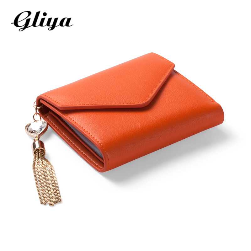 Gliya 2016 Envelope Wallet Female Leather Money Clip Candy Color Retro Metal Tassel Women Purse Short Small Clutch Wallet G16357(China (Mainland))