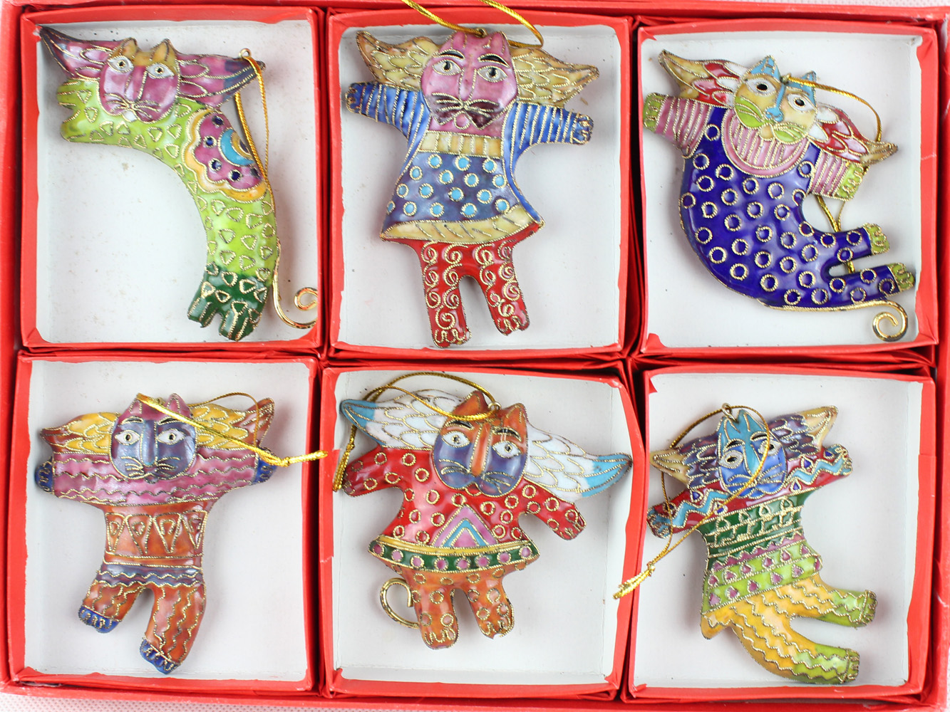 6pcs Cat Person Christmas Charms Ornaments Decoration Cloisonne Pendant Chinese Handmade Retro Craft Gift(China (Mainland))
