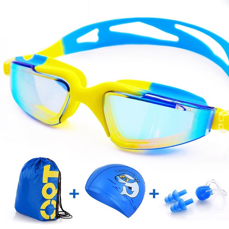 Waterproof PU baby swimming cap Children Swimming hat Children Swim cap kids swimming glasses(China (Mainland))
