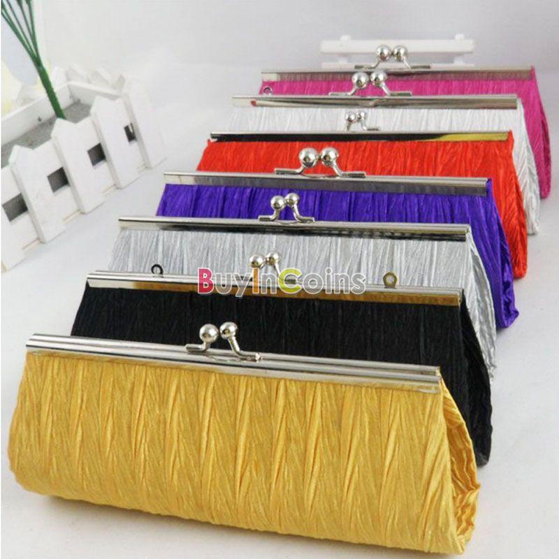 Satin Pleated Wedding Bridal Clutch Elegant Purse Women Handbag Evening Party Shoulder Bag US AS #48849(China (Mainland))
