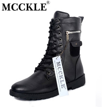 MCCKLE Military Combat Lace up Mid Calf High Credit Card Knife Money Wallet Pocket Boots Brand Design Fashion Casual Men Shoes(China (Mainland))