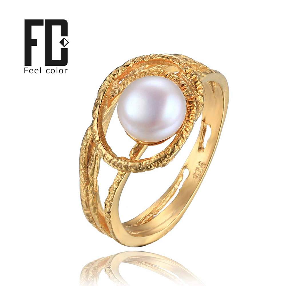 Feelcolor Retro Pearl Ring 925 Sterling Silver Flexible Antique Ring Jewelry For Women Charms Silver 18K Yellow Gold Plated(China (Mainland))