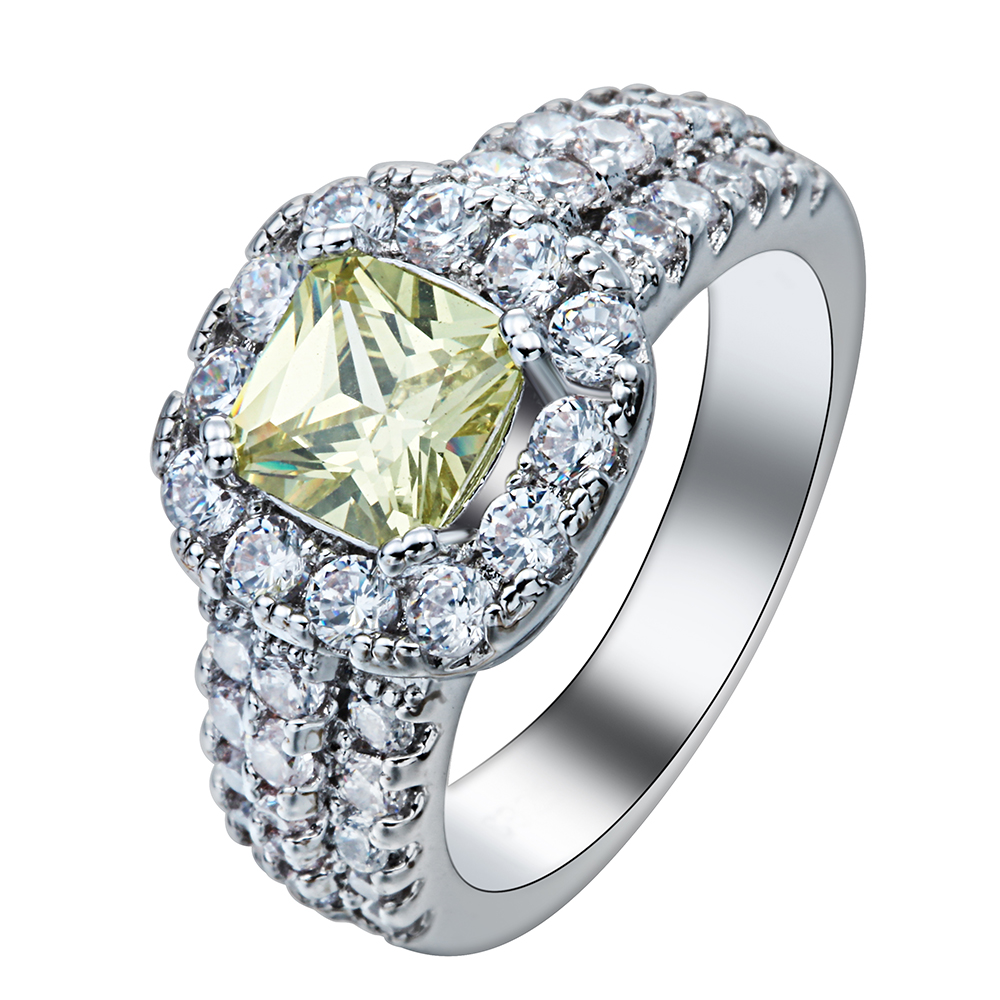 luxury topaz promise Rings drop shipping new design jewelry silver plated princess yellow cz diamond wedding Engagement Ring(China (Mainland))