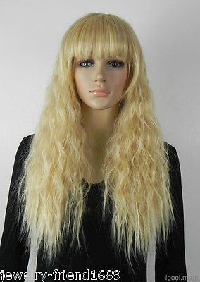 TJS &Wholesale&>> New Cosplay long brown mixed curly Hair women Heat Resistant wig(China (Mainland))