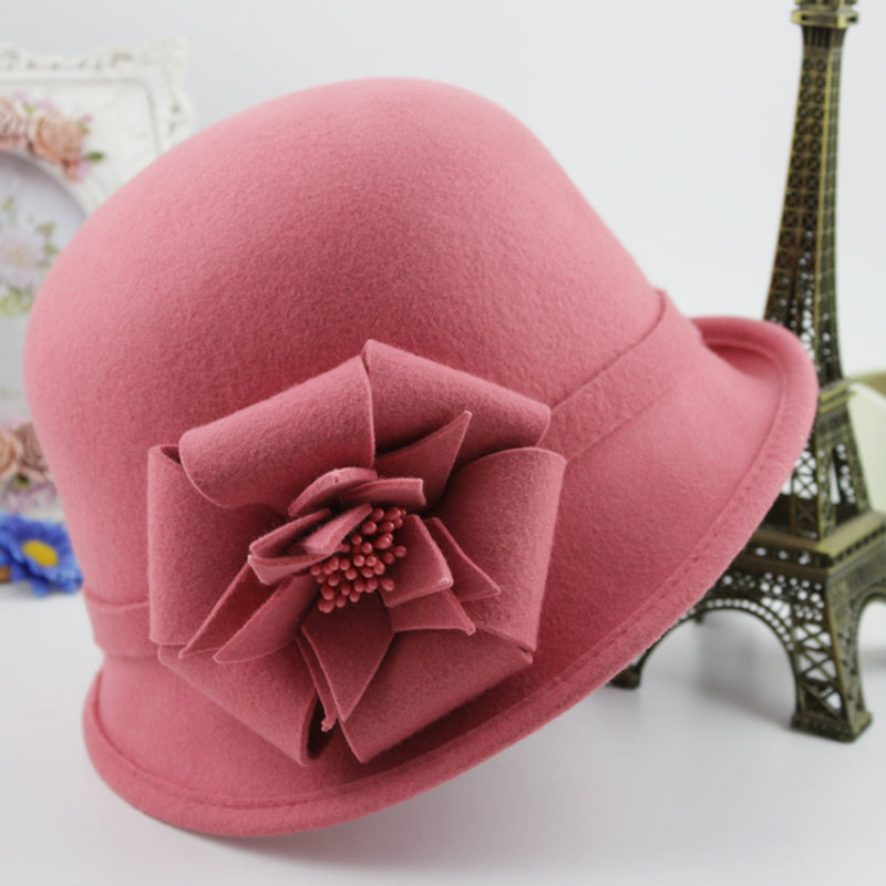 stereo camellia pure wool felt hat fedora female autumn winter sweet pink vintage bucket hats women - E-land Store 407897 store