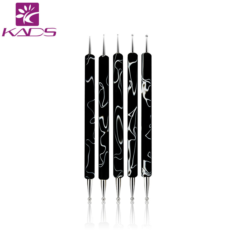 KADS New Arrival 5pcs/Set 2 Way Dotting Marbleizing Painting Pen Tool Nail Art Dot Dotting Tool Nail Care