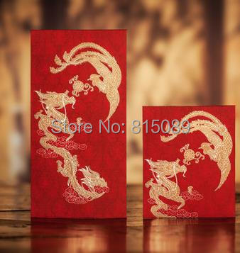 CHINA TRADITIONAL Wedding Favor Red Packet Money Envelope Gift bag Hot Stamping Dragon and Phoenix Pattern Free Shipping(China (Mainland))