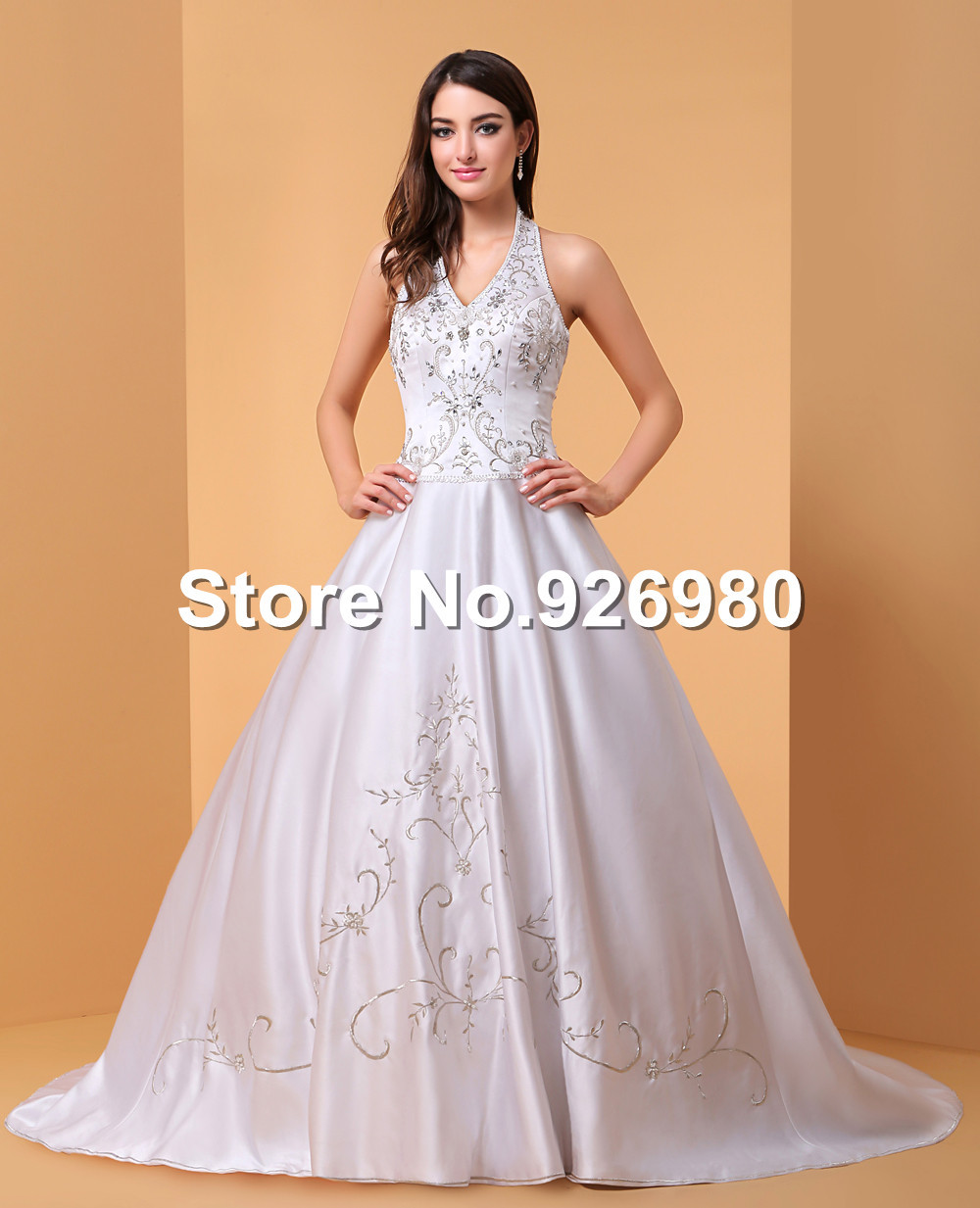 Free shipping halter beaded dress for weddings satin for Wedding dresses with lace up back