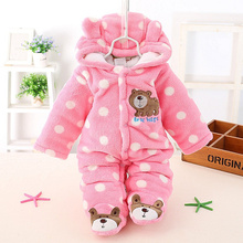 Newborn Baby Boy Clothing Fleece Winter Girl Romper Cartoon Infant Babies Clothes Meninas Bear Down Snowsuit Pink Blue Jumpsuits(China (Mainland))