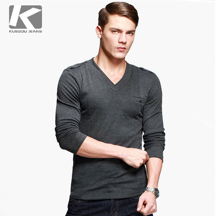 Higt quality men 39 s fashion long sleeve tee t shirt v neck for Good quality long sleeve t shirts