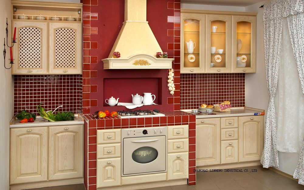 classical oak wood kitchen cabinet(LH-SW078)(China (Mainland))