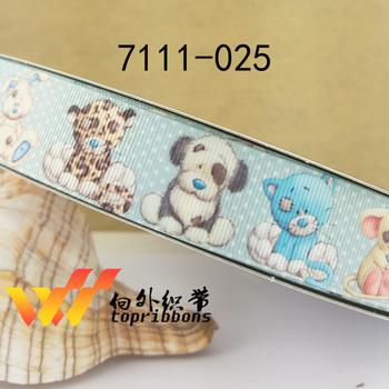 1'' 25mm cartoon printed grosgrain ribbon 10 yards,7111-025
