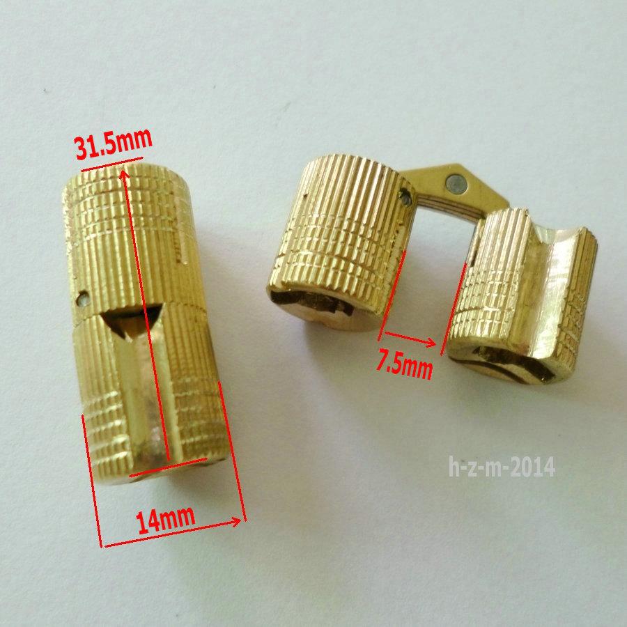 14mm HIDDEN HINGE INVISIBLE HINGE BARREL CONCEALED HINGE - BRASS (4 PCS)(China (Mainland))