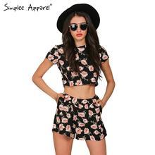 S Impleeเสื้อผ้าBohoดอกไม้พิมพ์ผู้หญิงj umpsuit r omperฤดูร้อน2016ลำลองสั้นp laysuitสาวหรูหราสองชิ้นเซ็กซี่ovaralls