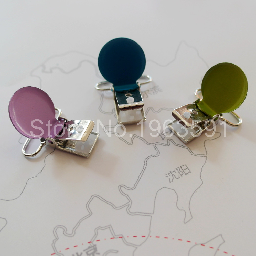 21 Pcs 25mm1 Inch Baby Round Metal Pacifier Clip Suspender Pica Holders Clips Mix Colors