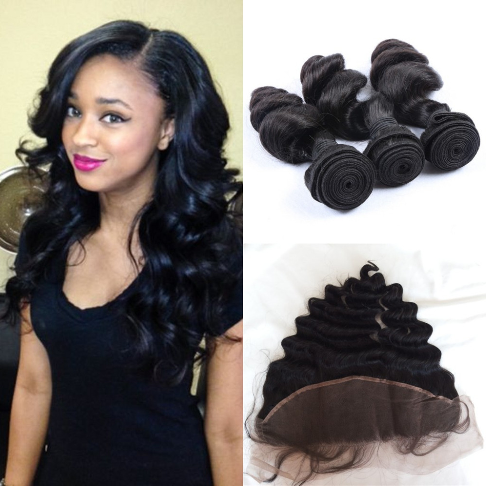 Ear To Ear 13*4 Lace Frontal Closure With Bundles Can Be Dyed No Tangle No Shed Loose Wave Human Hair Bundles With Closure<br><br>Aliexpress