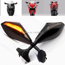 BLACK LED TURN SIGNALS REARVIEW SIDE MIRRORS FOR HONDA CBR 250 600 1000 RR F3 F4(China (Mainland))