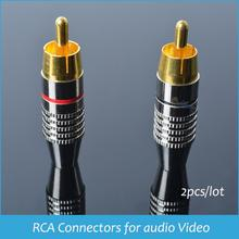 Sindax RCA connectors for audio Video Gold-plated RCA Plug AV RCA Connector Prefessional Speaker Devices Lotus RCA Plug 2pcs/lot(China (Mainland))