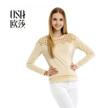OSA 2014 Design New Autumn Womens Knitted Sweaters Embroidery Splicing Long Sleeve Casual Pullovers Plus Size ST440002(China (Mainland))