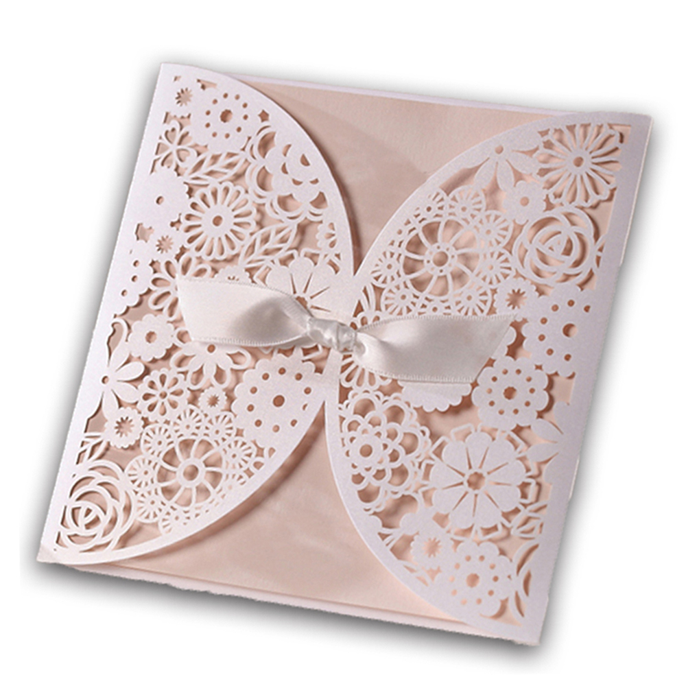 12Pcs/Lot Laser Cut Wedding Invitations Paper Cards Party Wihte Bow Decoration Printable Flora Favors Convite do casamento(China (Mainland))