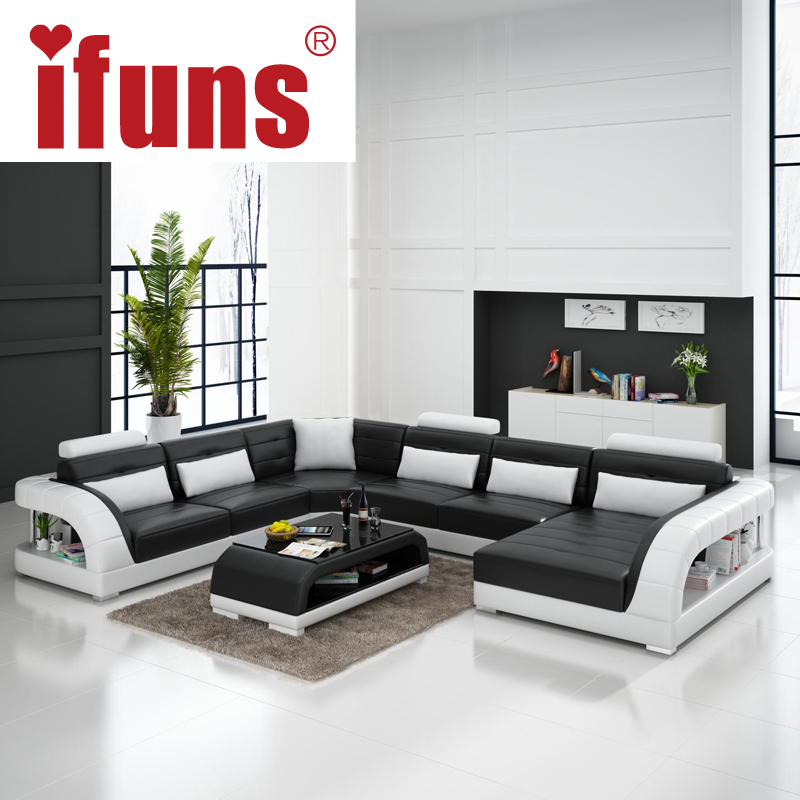 IFUNS Large U Shaped Sofa White Cow Leather Couch Living Room Sofa And Modern