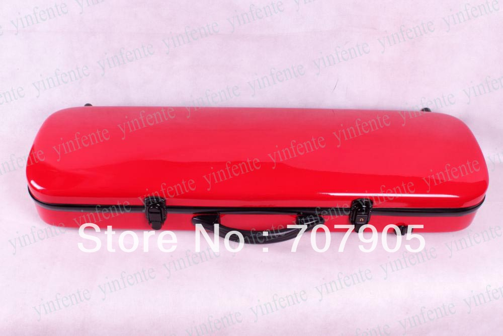 Фотография New 4/4 violin Water Proof Glass fiber Square Case Dropshipping Wholesale Red