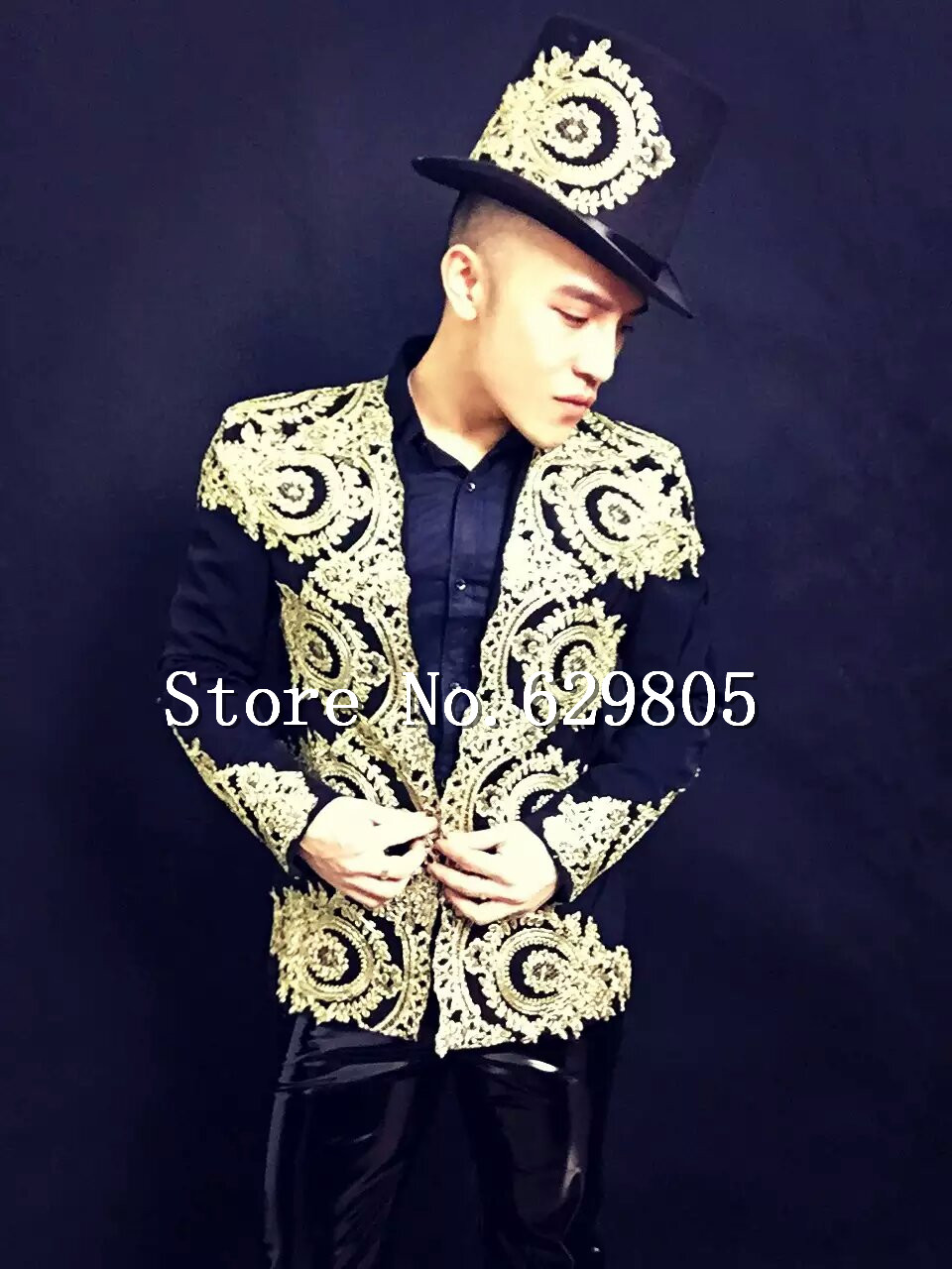 Plus Size Baroque Palace Vintage Embroidery Suits Set Male Singer outfit Wear Men Stage Blazer Trousers Bar Party Costume Jacket