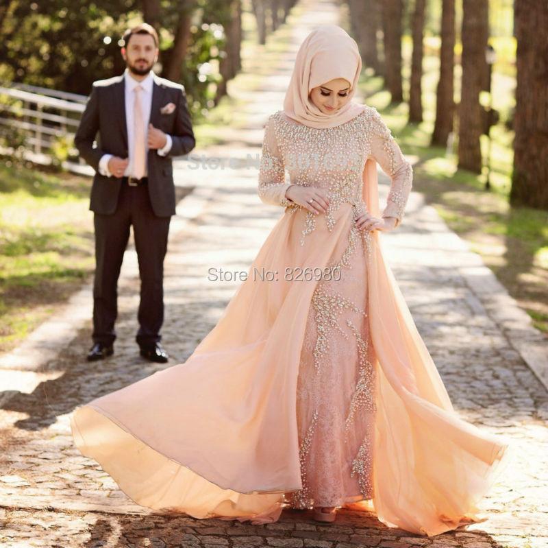 Turkish Islamic Evening Gowns Long Sleeve Hijab Muslim Evening ...