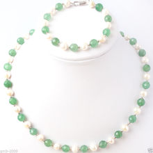 NEW Natural 7-8mm White Pearl&8mm Faceted Green Jades Necklace Bracelet Set(China (Mainland))