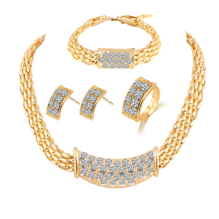 New product Europe and America fashion flash rhinestone jewelry sets Necklace&Earrings&Bracelet 4 sets women&girl jewelry gift(China (Mainland))